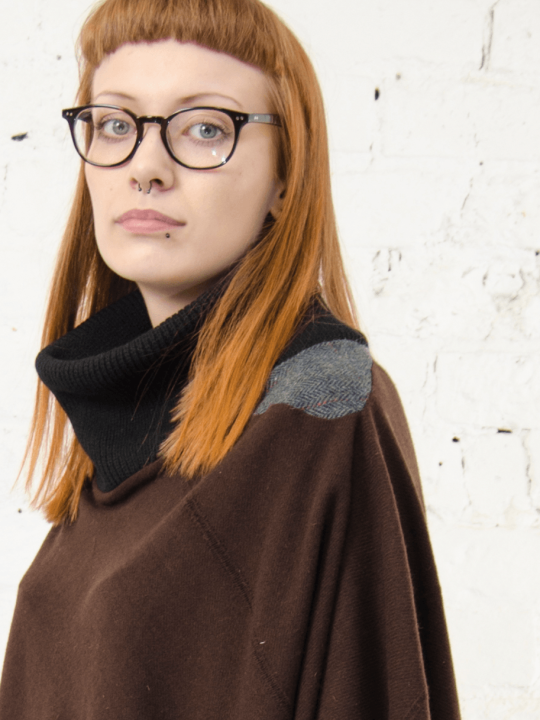 Antiform Blanket Poncho Tweed Panel