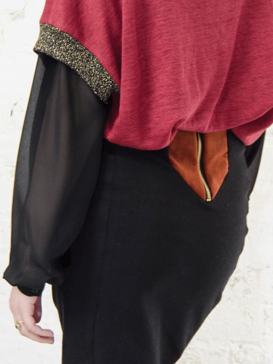 Antiform Velvet Panel Pencil Skirt Rust