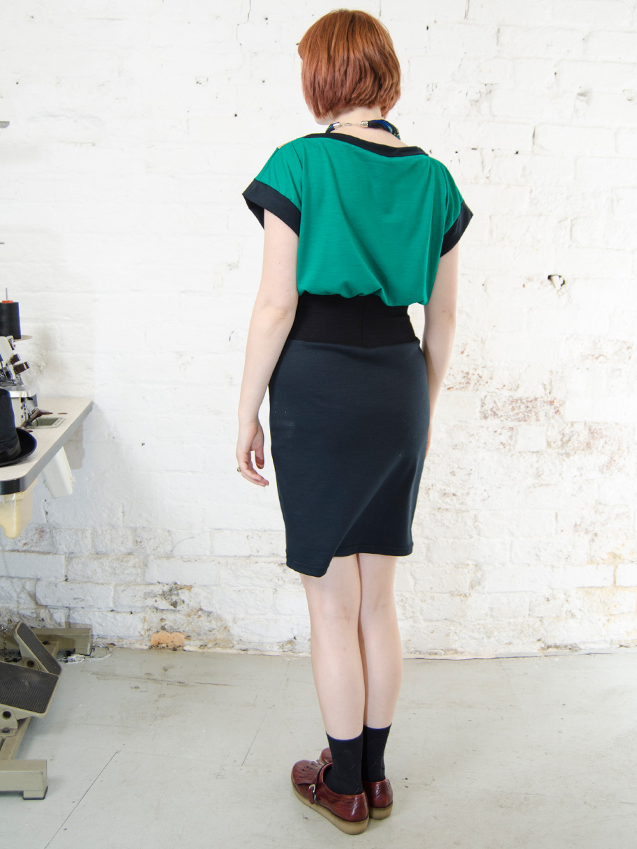 Antiform Folk Dress in Emerald