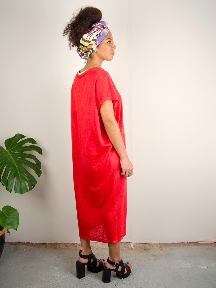 Antiform Linen Slouch Dress in Coral