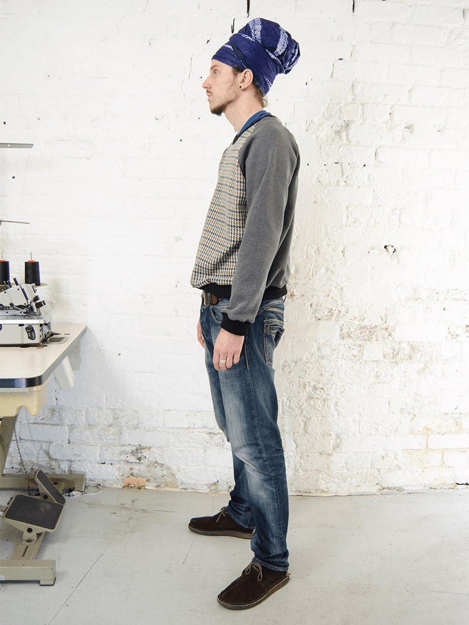 Antiform Tweed Sweater Grey Sleeve