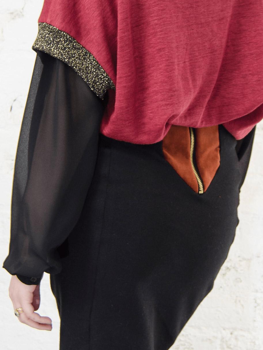 Antiform Velvet Panel Pencil Skirt