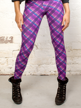 Antiform Leggings in Purple Plaid
