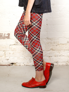 Antiform Leggings in Red Plaid (2)