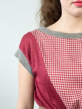 Antiform Folk Dress Plum Houndstooth - Fabric Detail