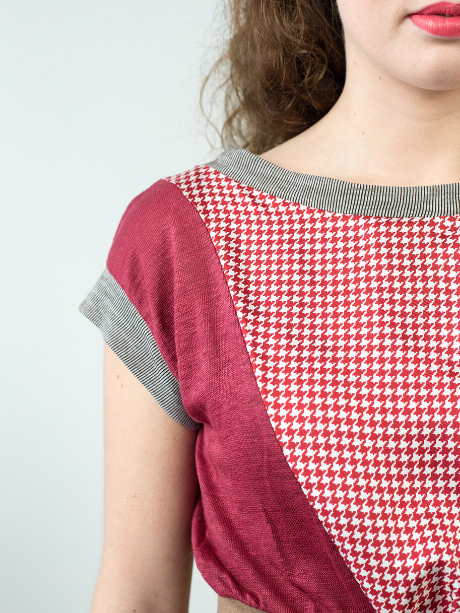 Antiform Folk Dress Plum Houndstooth - Fabric Detail